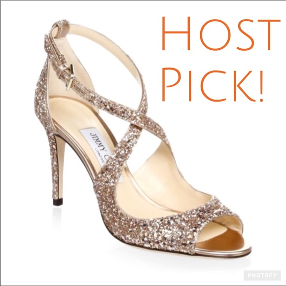 57410efe5ba Jimmy Choo Shoes | Hp Emily Coarse Glitter Sandals | Poshmark